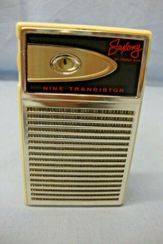 Vintage Saxony 9 Transistor Portable Radio w/Carrying Case Plays