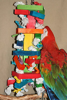 "X-Large Parrot Toy (BLOCKS & KNOTS) JK531 Macaw/Cockatoo's 6"" x 22"" Chewing"