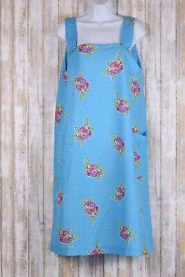Aqua House Dress Lounge Wear Floral Print Sleeveless Pockets Sz Large No Brand ()