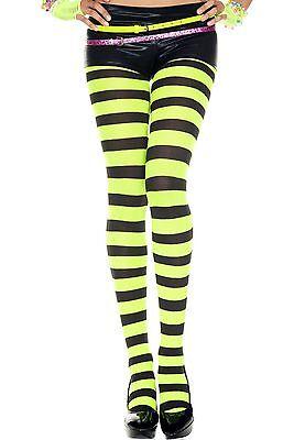 Neon Green + Black Wide Stripe Fancy Dress Tights Sexy Designer Lingerie P7419 - Green Black Striped Tights