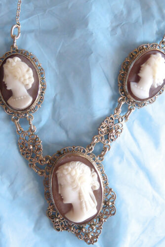 """VINTAGE FILIGREE 800 SILVER AND STERLING 3 SHELL CARVED CAMEO NECKLACE 19"""""""