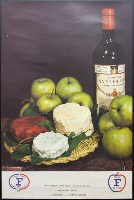 c.1960 French Wine Cheese Advertising Poster Soft Cheese Vin de Bordeaux Vintage