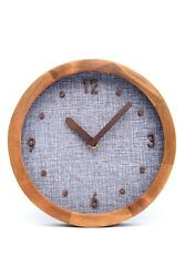 Driini Burlap Analog Wood Wall Clock (8) - Battery Operated