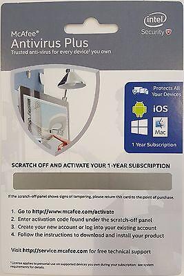 Intel Mcafee Antivirus Plus English 1 Yr Activation Card  No Cd Needed 1 License