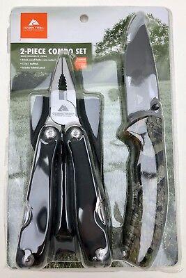 "OZARK TRAIL Outdoor Hunting 2-Pc 8"" Folder Camo Knife & 12-in-1 Multi-tool Combo"