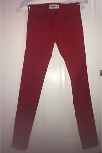 Red Abercrombie kids skinny jeans