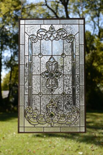 "Stunning Handcrafted stained glass Clear Beveled window panel, 20"" x 34.25"""