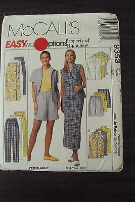 Misses' Easy Wrap Skirt Shorts & Pants Sewing Pattern - McCalls 9353 8,10,12   # for sale  Chandler