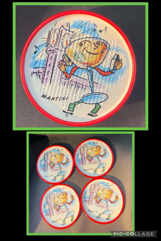 Vintage 1949 Tin Metal Litho Novelty Anthropomorphic Coasters Set #4