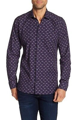 Jared Lang Men's Navy Horse Print Semi Fitted Button Front Shirt