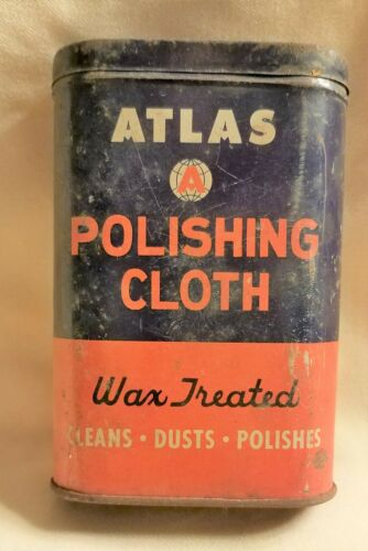 VINTAGE ATLAS TIN CAN POLISHING CLOTH ADVERTISING AUTOMOBILE WAX
