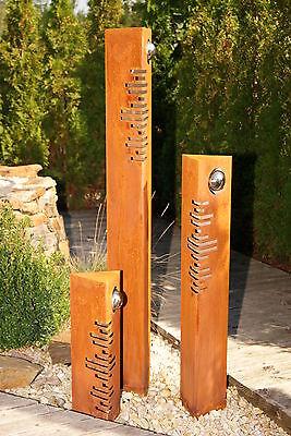 säulen set modern edelrost mit edelstahl - kugeln rost garten, Garten Ideen