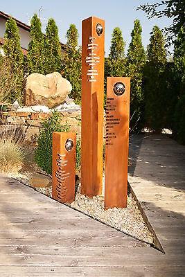 Säulen  Set Modern Edelrost mit Edelstahl - Kugeln Rost Garten Dekoration Stele