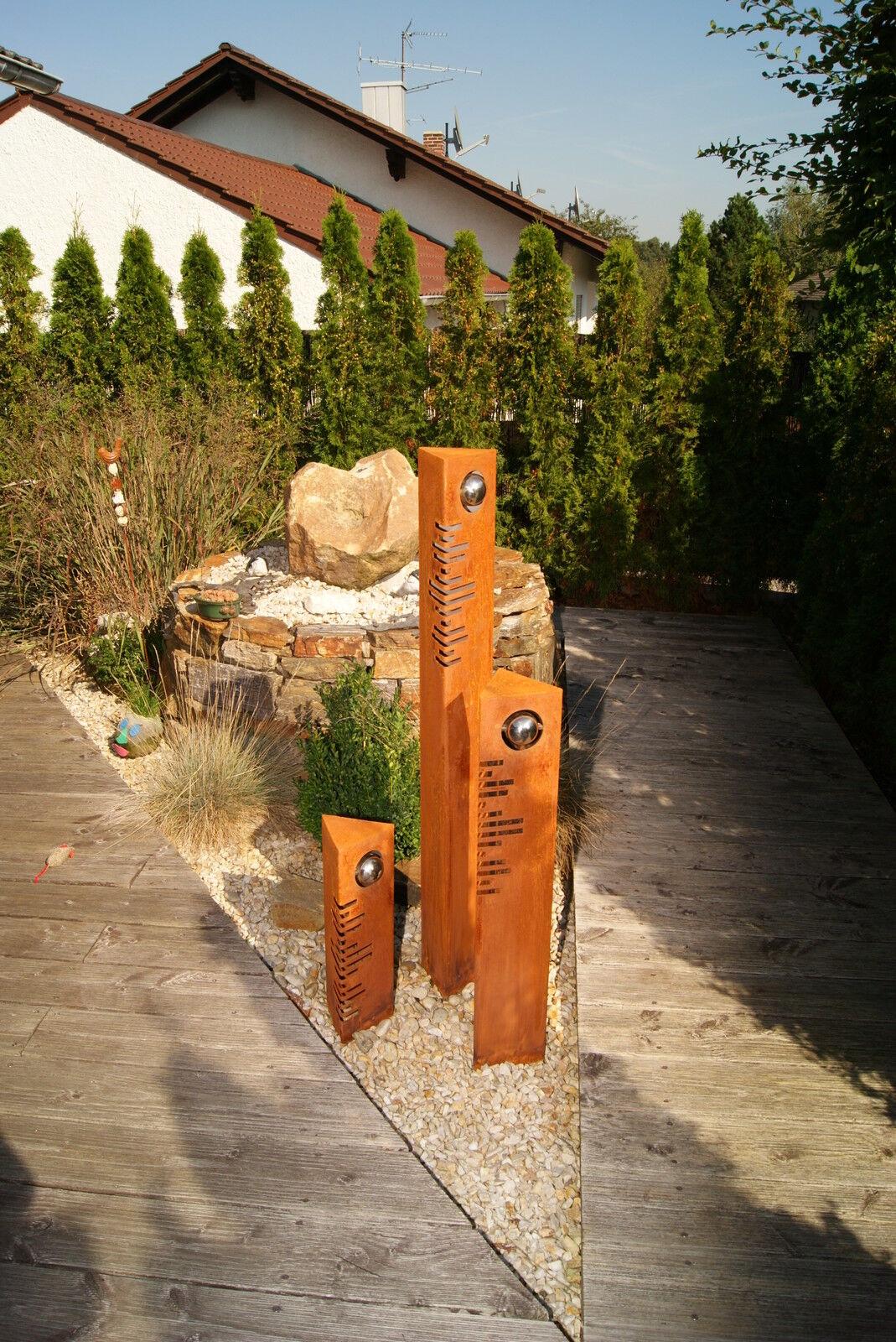 S ulen set modern edelrost mit edelstahl kugeln rost for Edelrost skulpturen
