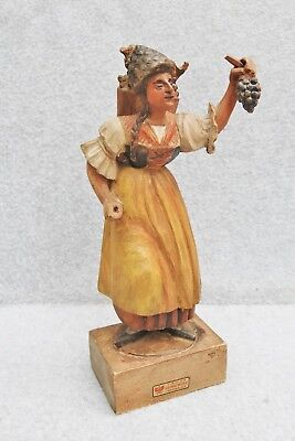 Tiroler Heimatwerk Innsbruck Hand Carved Wood Figure Woman Grapes Wine Barware