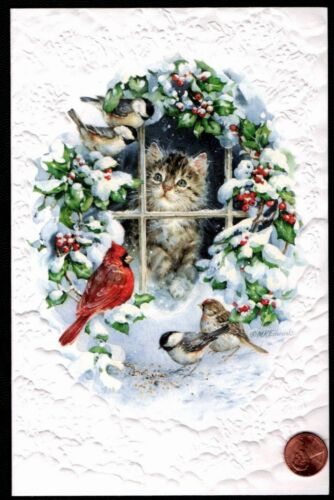 Kitten Cat Holly Snow Cardinal Bird *EMBOSSED* Large Christmas Greeting Card NEW