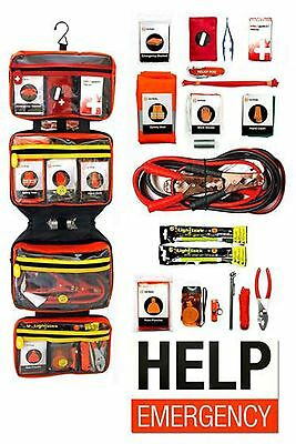 NEW Relief Pod Deluxe Car Roadside Safety Kit emergency aid tools set 60-ITEMS