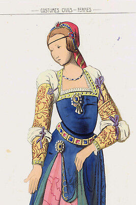Flanders Noble Lady 1500 - Jacquemin 1869 Print - Flanders Costume