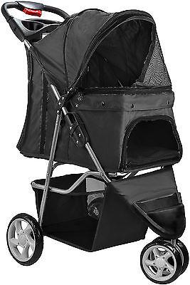 OxGord Pet Stroller Cat Dog 3 Wheel Walk Jogger Travel Folding Carrier Black