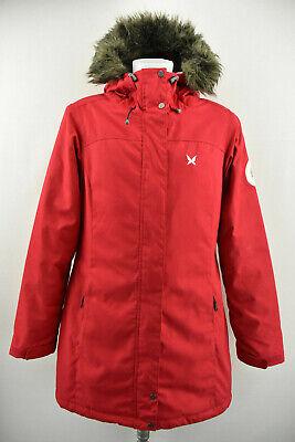 KARI TRAA Womens Long Padded Jacket Red Parka Windproof Hooded Coat Size L
