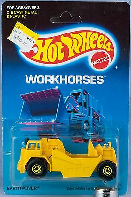 Hot Wheels Workhorses Yellow Earth Mover Malaysia New On Card 1989