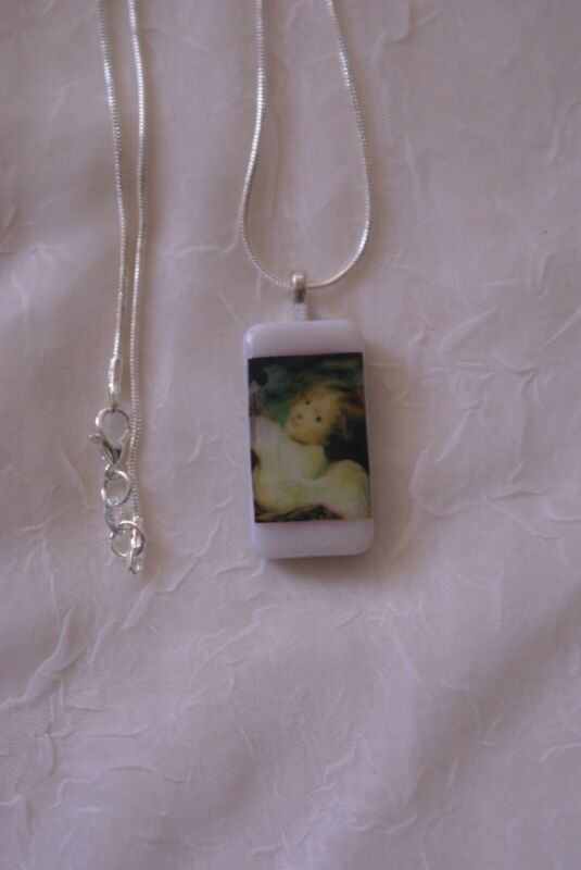 UPCYCLED HANDMADE DOMINO PENDANT OF ANGEL WITH STERLING SILVER CHAIN