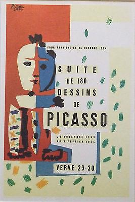 "PABLO PICASSO vintage mounted poster print, Verve 1953, 16 x 12"" affiche PP13"