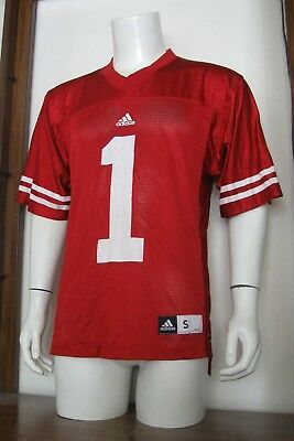S Men Adidas #1 Wisconsin Badgers NCAA Football Jersey Red White small EUC