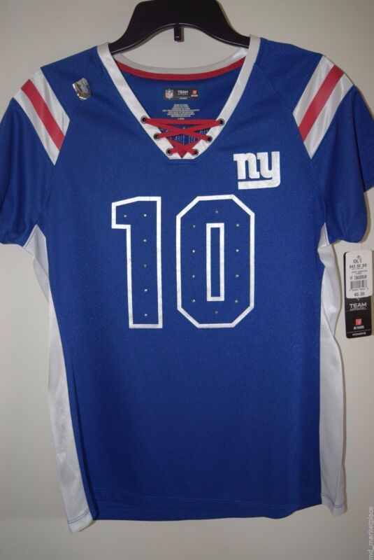 NWT NFL New York NY GIANTS Manning #10 Womens Draft Me Blue Jersey Shirt L $60