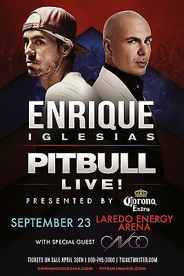 ENRIQUE IGLESIAS /PITBULL 2017 LAREDO, TEXAS CONCERT TOUR POSTER-Spanish Hip Hop