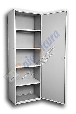 Armadio Scarpiera Multiuso Esterno Ripiani Armadietto Metallico Giardino Bianco