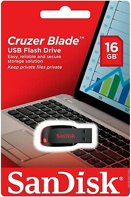 SanDisk Cruzer Blade 16 GB USB Flash Drive Thumb Pen USB Memory Stick