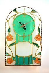 Clock  Handmade Retro Stained Glass Wall Decor Unique Art Home Gift
