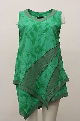 PRISA WOMEN'S COTTON ASYM SLEEVELESS TANK PULLOVER SHIRT TOP GREEN FLORAL PRINT