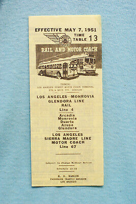 Pacific Electric Pocket Time Table - #13, Arcadia-Monrovia, 5/7/51