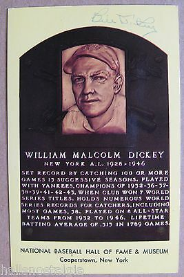 af03678ba7 Bill Dickey Signed Yellow/Gold HOF Plaque Postcard (New York Yankees  Autograph)