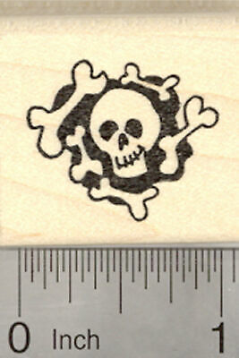 Halloween Skull and Bones Rubber Stamp D25524 - Skull And Bones Halloween