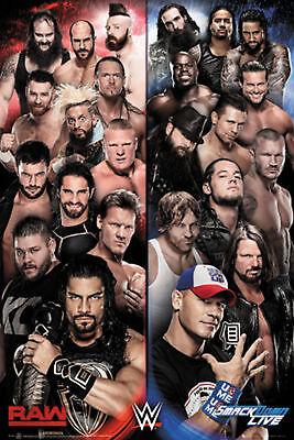 Wrestling - WWE - Raw v Smackdown - Poster Plakat Druck - Größe 61x91,5 cm