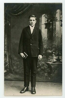 Handsome photogenic guy in suit vintage antique RPPC Real photo postcard