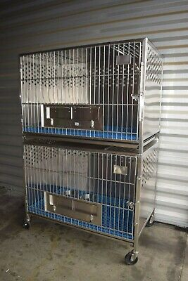 Large Animal Caging Double Stack Animal Housing Cage Stainless Steel