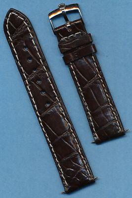 GENUINE ROLEX STEEL BUCKLE & 20mm GEN. BROWN CROCODILE MB STRAP BAND SUBMARINER