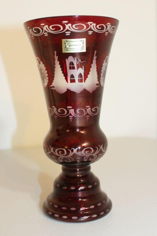 Vintage Egermann Bohemian Czechoslovakia Ruby Red Cut to Clear Glass Vase