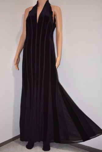 Vtg 90s Tadashi Shoji black dress halter neck velvet contrast party gown XL