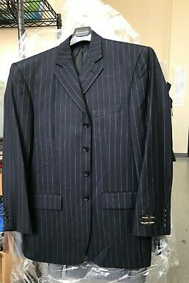 Men's 4 Button Single Breasted Suit,Wool Feel navy/stripe, gray/stripe by (Single Breasted Stripe)