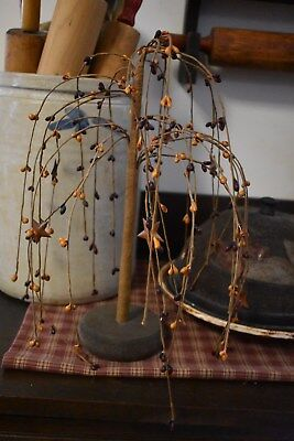 NEW PRIMITIVE BURGUNDY/MUSTARD PIP BERRY WILLOW TREE WITH STARS  HOME DECOR