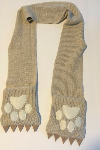 Hanna Andersson Bear Paw Knit Scarf Cotton Wool Blend One Size