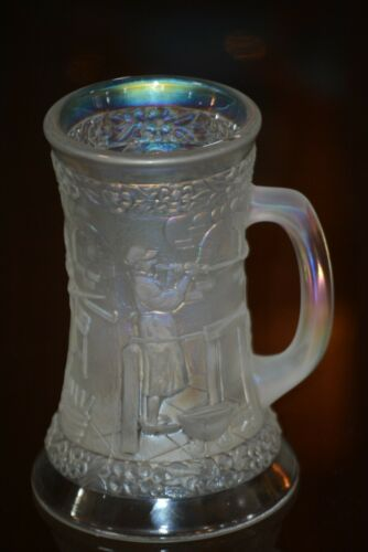 Fenton Iridescent Frosted Glass Tankard Beer Stein Glass Blower LE #89 / 1500