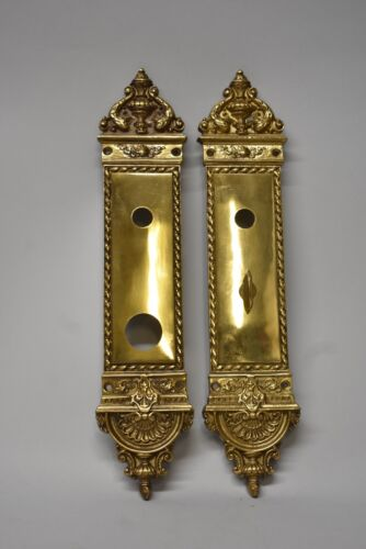 """Antique Heavy Cast Brass Neo Classical Entry Door Plates 14"""" Tall"""
