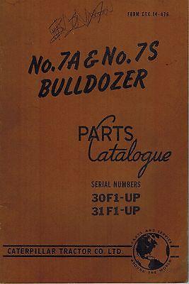 Caterpillar Vintage 7a 7s Bulldozers Parts Catalog Manual X