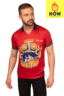 RRP €355 VERSACE T-Shirt Top Size M Printed Ribbed Trim Collared Made in Italy